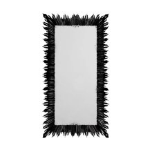 Black Finish Floor Standing Rectangular Sunburst Mirror