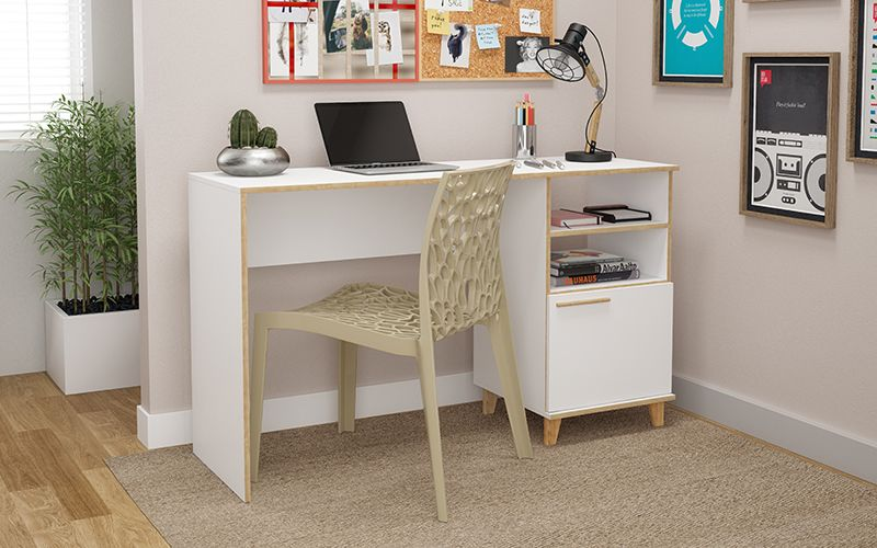 Minetta 2-Shelf Mid Century Office Desk in White