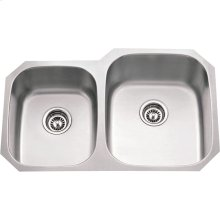 "304 Stainless Steel (18 Gauge) Undermount Kitchen Sink with Two Unequal Bowls. Overall Measurements: 32"" x 20-5/8"" x 9"""