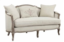 Salerno - Settee-sand Gray Finish W/2 Pillows & 1 Kidney Pillow-cream