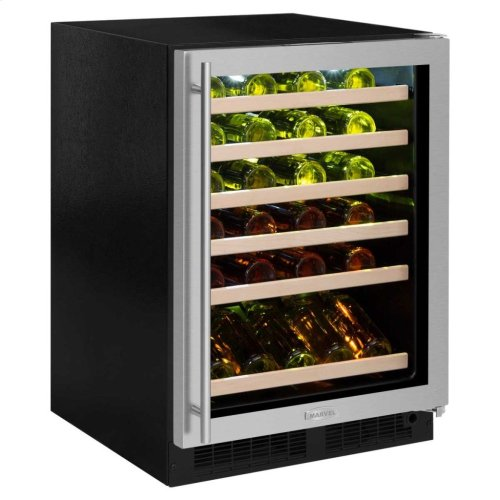 """Marvel 24"""" High Efficiency Single Zone Wine Refrigerator - Panel-Ready Solid Overlay Ready Door - Integrated Left Hinge (handle not included)*"""