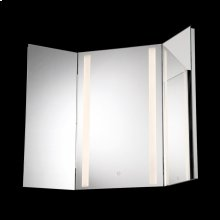 SMALL LED TRI-FOLD MIRROR - Chrome