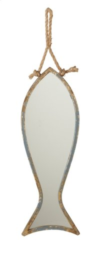 Small Distressed Blue Fish Mirror on Rope Hanger. Product Image