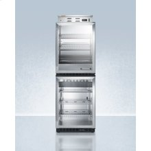Glass Door Warming Cabinet Phc61g Stacked With Scr610bl Commercial Beverage Center