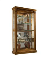 Lighted Sliding Door 5 Shelf Curio Cabinet in Maple Brown Product Image