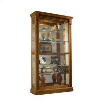 Lighted Sliding Door 5 Shelf Curio Cabinet in Maple Brown