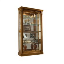 Lighted Sliding Door 5 Shelf Curio Cabinet in Maple Brown