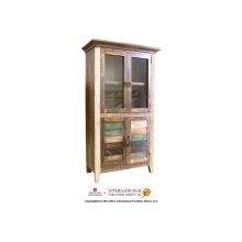 Bookcase w/2 Glass doors, 2 wood doors
