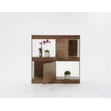 Modrest Aura Modern Walnut & Glass Square Cabinet