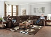 Lay Flat Reclining Console Loveseat w/ Extended Ottomon Product Image