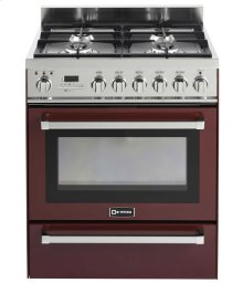 "Burgundy 30"" Self-Cleaning Dual Fuel Range with Warming Drawer"