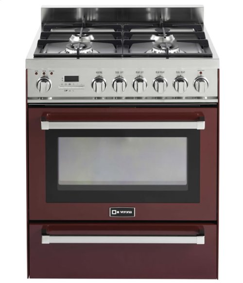 """Burgundy 30"""" Self-Cleaning Dual Fuel Range with Warming Drawer"""