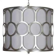 Art Deco Style Silver Leaf Pendant With White Linen Inner Shade and Diffuser.