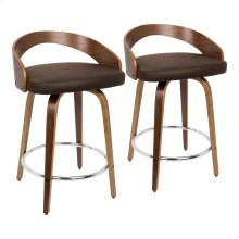 Grotto Counter Stool - Set Of 2 - Walnut Wood, Brown Pu, Chrome