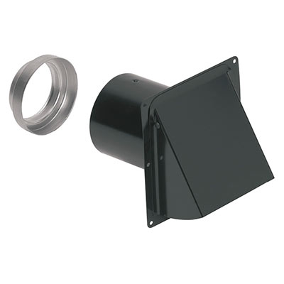 "Wall Cap, Steel, Black, for 3"" and 4"" round duct