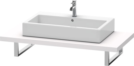 Console For Above-counter Basin And Vanity Basin, White Lilac Satin Matt Lacquer