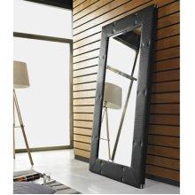 Black Faux Rattan Leaning Wall Mirror