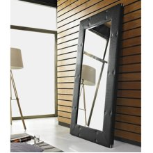 Black Faux Rattan Leaning Wall Mirror