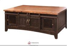 Coffee Table with 2 Sliding Doors & 2 Mesh Doors