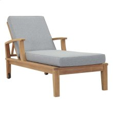 Marina Outdoor Patio Teak Single Chaise in Natural Gray