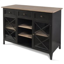Black Metal Farmhouse Buffet with Wooden Accents  35in X 45in X 19in  Buffet