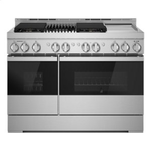 "JennAirNOIR 48"" Gas Professional-Style Range with Chrome-Infused Griddle and Grill"
