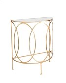 Gold Leaf Console With Oval Details and Antique Mirror Top. Product Image