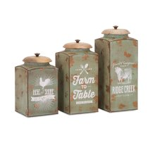 Farmhouse Lidded Canisters - Set of 3