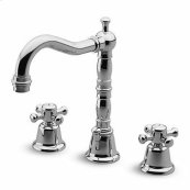 """3 hole basin mixer, swivel spout with aerator, 1 1/4"""" pop-up waste, flexible tails."""