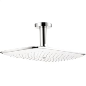 White/chrome PuraVida 400 AIR 1-Jet Showerhead with Ceiling Mount, 2.5 GPM