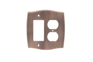 Single GFI/Single Duplex Colonial Switch Plate - Distressed Antique Brass
