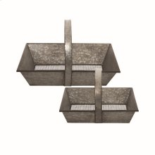 Galvanized Trug Handle Baskets, Set of 2