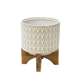 "Ceramic 6.75"" Planter On Stand, White/tan"