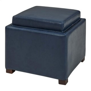 Cameron Square Bonded Leather Storage Ottoman w/ tray, Vintage Blue