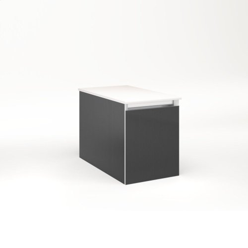 """Cartesian 12-1/8"""" X 15"""" X 21-3/4"""" Single Drawer Vanity In Smoke Screen With Slow-close Full Drawer and No Night Light"""