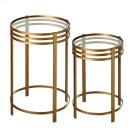 2 pc. set. Antique Gold Linear Side Table with Tempered Glass Top. (2 pc. set) Product Image