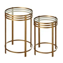 2 pc. set. Antique Gold Linear Side Table with Tempered Glass Top. (2 pc. set)