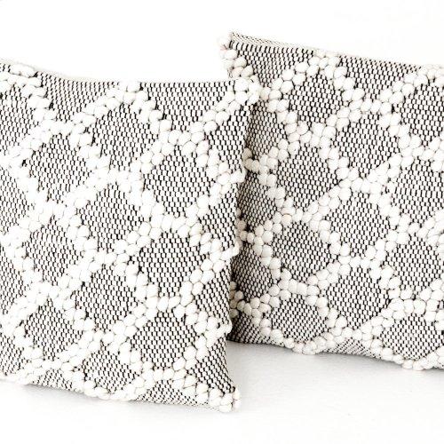 "20x20"" Size Black & Cream Diamond Pillow, Set of 2"