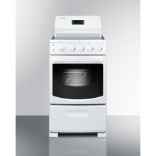 """20"""" Wide Deluxe Electric Range With Smooth Black Ceramic Glass Cooking Surface, Oven Window With Light, and High Backguard With Clock and Timer"""