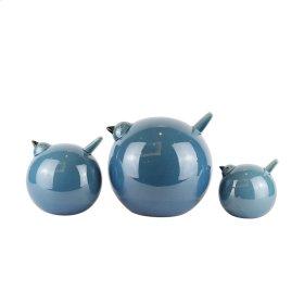 "S/3 Ceramic Birds 7.5"", Blue"