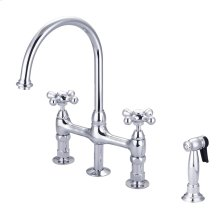 Harding Kitchen Bridge Faucet - Metal Porcelain Cross Handles - Polished Chrome