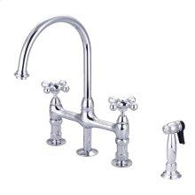 Harding Kitchen Bridge Faucet - Metal Porcelain Cross Handles - Polished Chrome