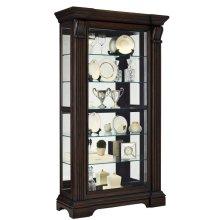 Reeded Sliding Door 5 Shelf Curio Cabinet in Cherry Brown