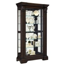 Reeded Sliding Door 5 Shelf Curio Cabinet in Cherry Brown