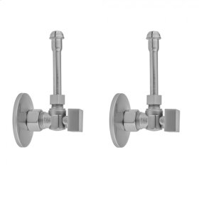 """Polished Chrome - Quarter Turn Angle Pattern 5/8"""" O.D. Compression (Fits 1/2"""" Copper) x 3/8"""" O.D. Faucet Supply Kit with Square Handle, 20"""" Supply Tubes, Escutcheons"""