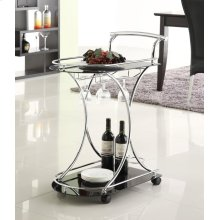 Chrome and Black Serving Cart