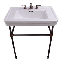 """Drew 30"""" Console with Brass Stand - 8"""" Widespread / Oil Rubbed Bronze"""