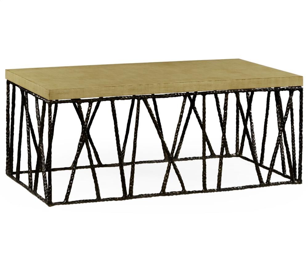 Hammered Antique Black Brass Coffee Table With Celadon Top Hidden