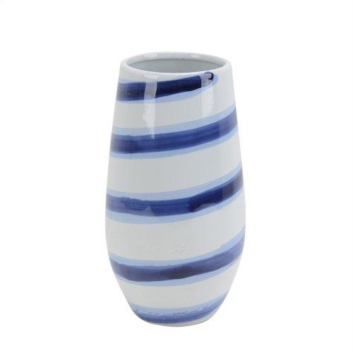 "Ceramic Striped Vase 12"", White/blue"
