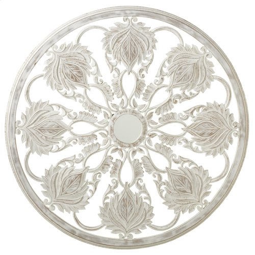 Carved Whitewash Round Floral Wall Decor